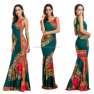 ethnic style sublimation printing long African maxi dress