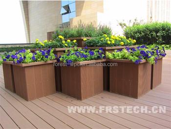 Kunststof Tuin Pot : 670x650x400mm frstech houten design tuin bloem pot hout kunststof