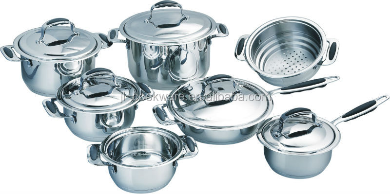 hot sell with high quality 13pcs stainless steel cookware set /cooking pot /fry pan with non stick