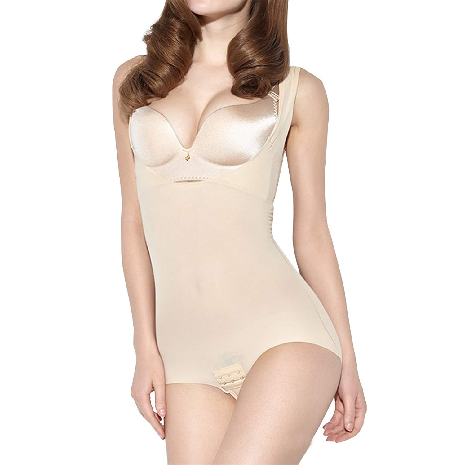 d3554ab02ff7a Shymay Women s Body Briefer Smooth Wear Your Own Bra Slimmer Shapewear  Bodysuits
