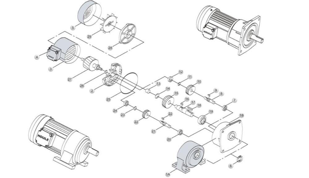 Houle Hot Sale Medium Reduction Motor Long Working Life Electric