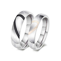 Cheap Personalized Couples Jewelry Silver Heart Ring