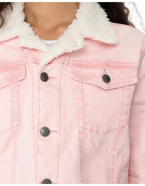 Sherpa Collar Slim Fit Wholesale Denim Jacket Pink / Custom Pink ...