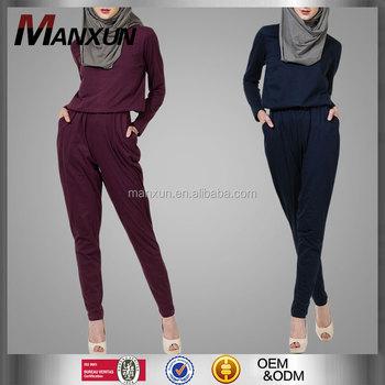 aa53e3102f69 Modest Ladies Office Wear Jumpsuits Muslim Women Model Kebaya Modern Cotton   Cotton Jersey Islamic Jumpsuits