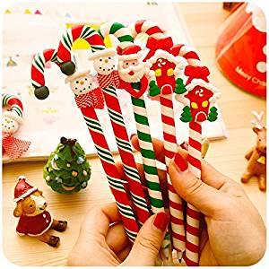 Lanlan 6 Pcs Creative Funny Environmental Protection Soft Painted Pottery Handmade Funny Crutch Ballpoint Pen Kids Christmas Gift Prizes