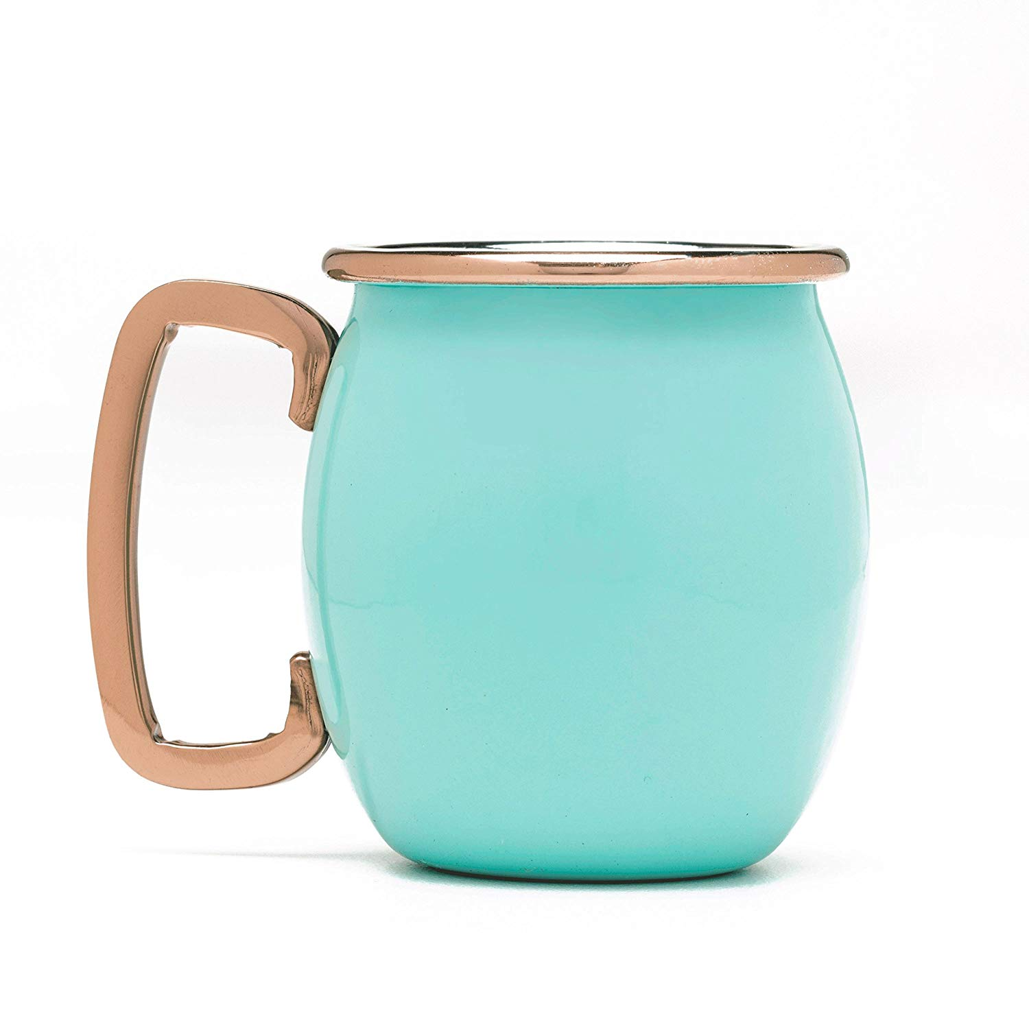 Fiesta 4 Piece Moscow Mule Shot Mug Set with Copper Accents, Turquoise