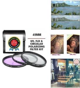 49MM Professional HD 3 Piece Filter Kit Includes Polarized PL + UV + FD Filter Kit For Sony Alpha NEX-3, NEX-5, NEX-C3, NEX-5N, NEX-,7 NEX-5R, DSC-RX1/B, DSC-RX1, DSC-RX1R/B, DSC-RX1R Digital Camera