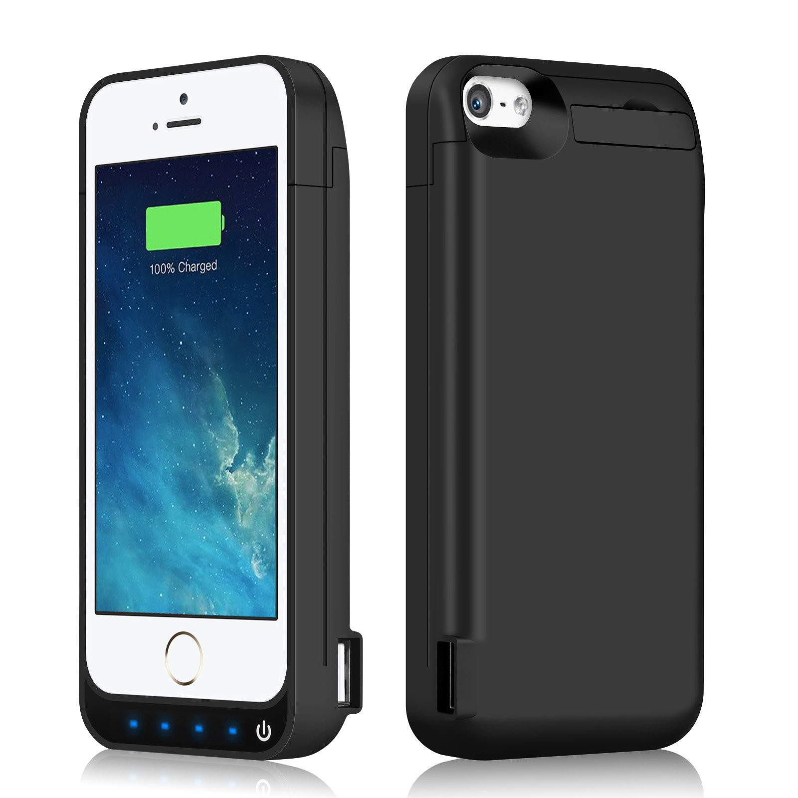 iPhone 5/5S/5C/SE Battery Case iPosible 4500mAh External Rechargeable Charger Case for iPhone 5/5S/5C/SE Charging Case Power Juice Bank Battery Pack [24 Month Warranty]