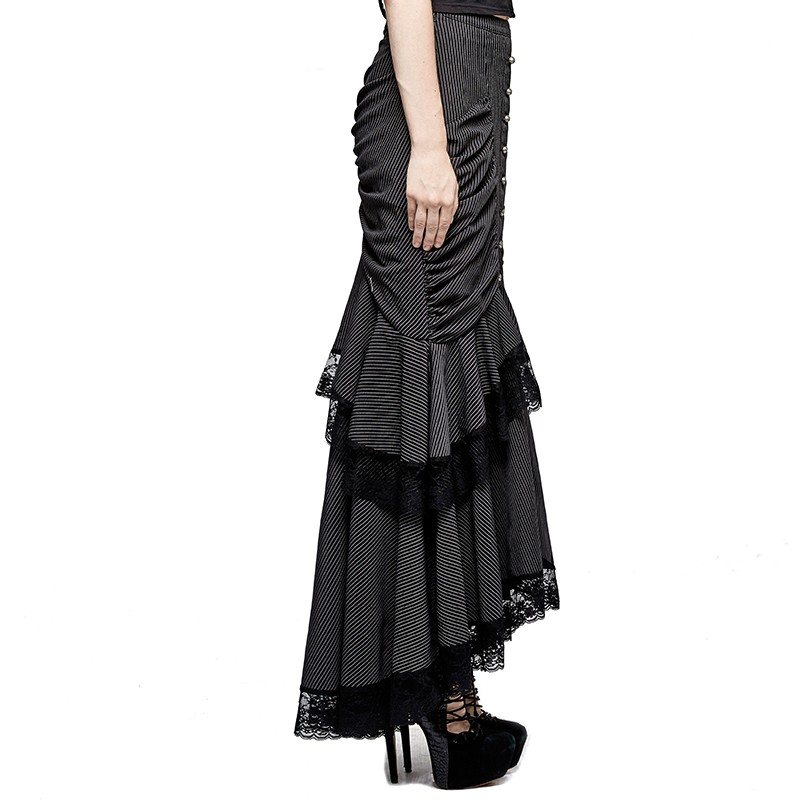 Q-306 Steampunk Graceful Full-skirted Stripes Woven Fishtail Skirt