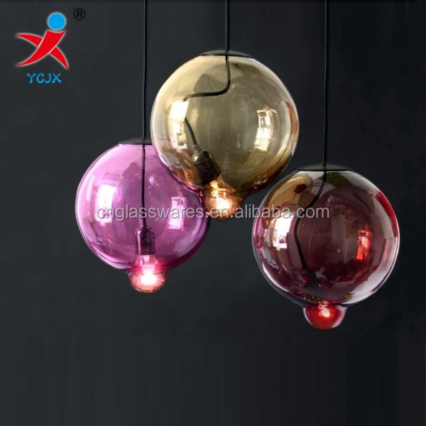 ball light cover/colored glass ball lamp shades / hanging glass sphere lamp