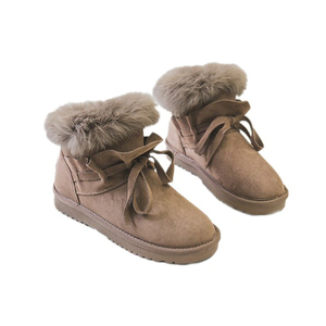 Factory Wholesale Fashion Warm Genuine Leather Ankle Flat Fur Women Winter Snow Boots