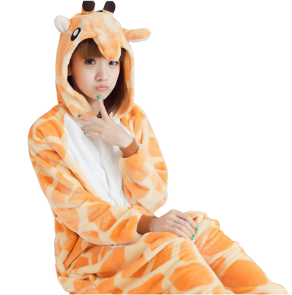 Get Quotations · 2015 New Flannel Anime Pajama Cartoon Giraffe Cosplay Warm  Hooded Lounge Adult Homewear Onesies Animal Pajamas 957ea2511