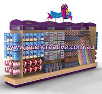 GC007 Gift Card and Wrapping Wooden Fixture for Retail with Wire and Acrylic Product Holders