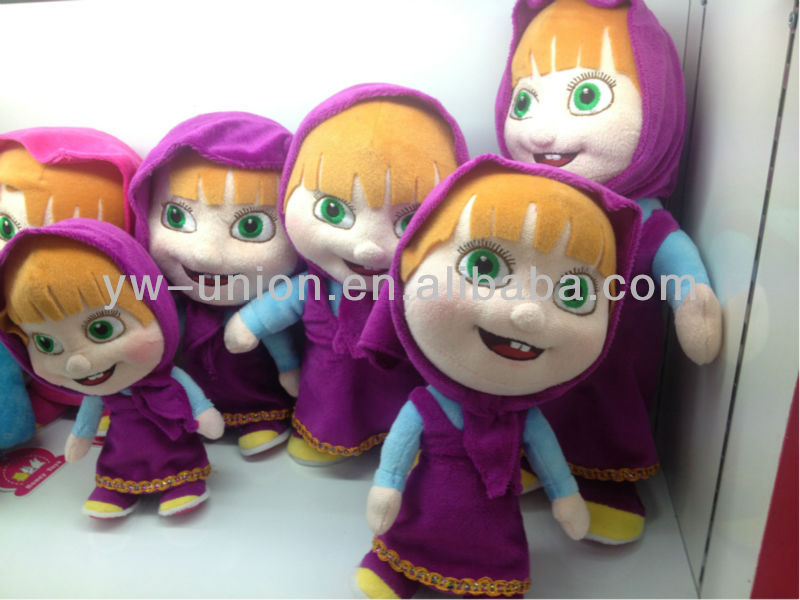 2015 Newest Russian Cartoon electric Soft Plush Masha Girl Doll