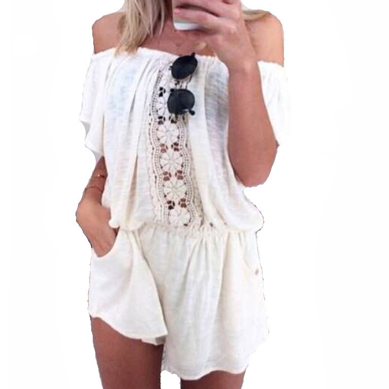 summer style jumpsuits rompers women brand 2015 fashion slash neck crochet beach white playsuits with pockets macacao feminino