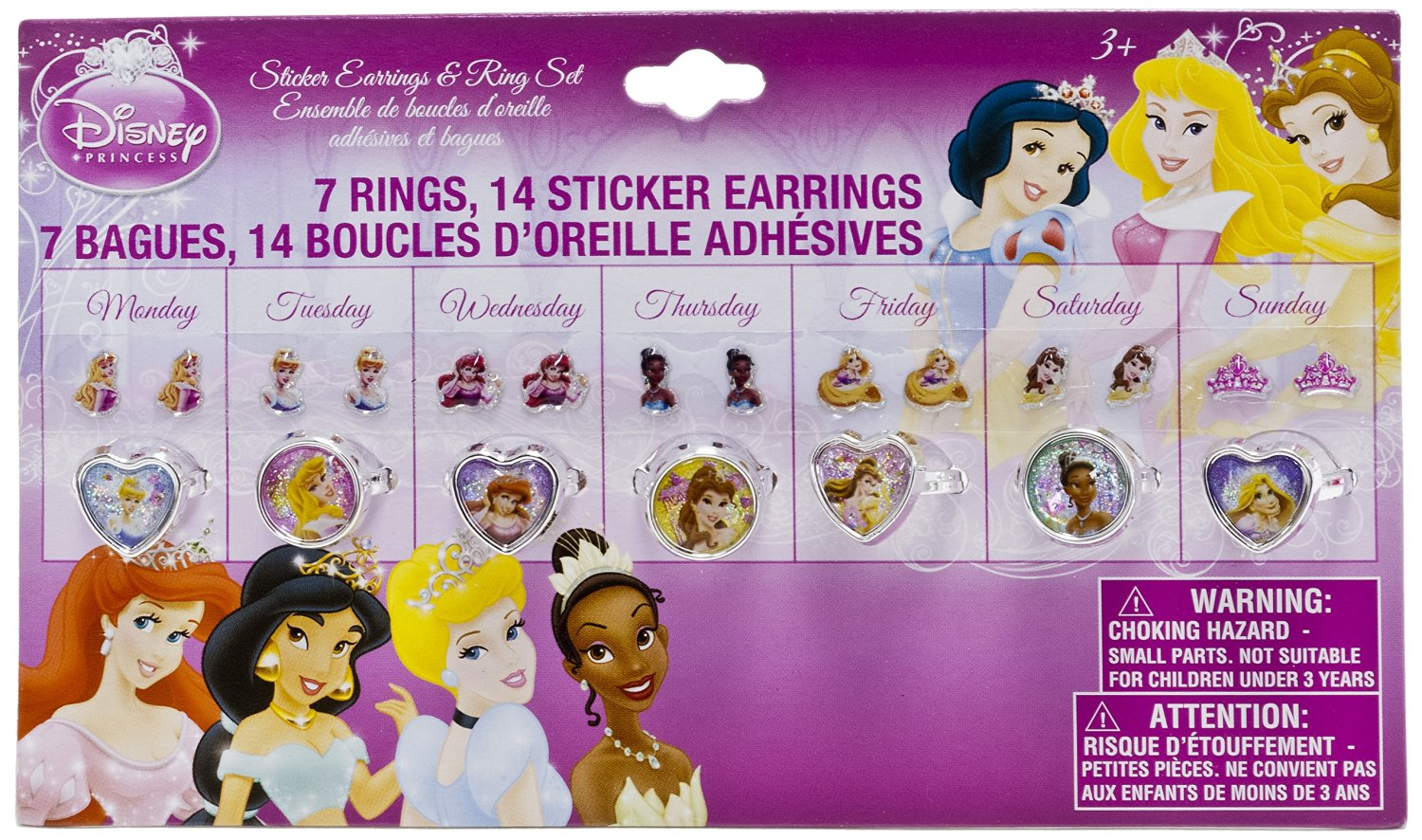 """Disney Princess """"Rings & Earrings"""" Accessory Set - pink, one size"""