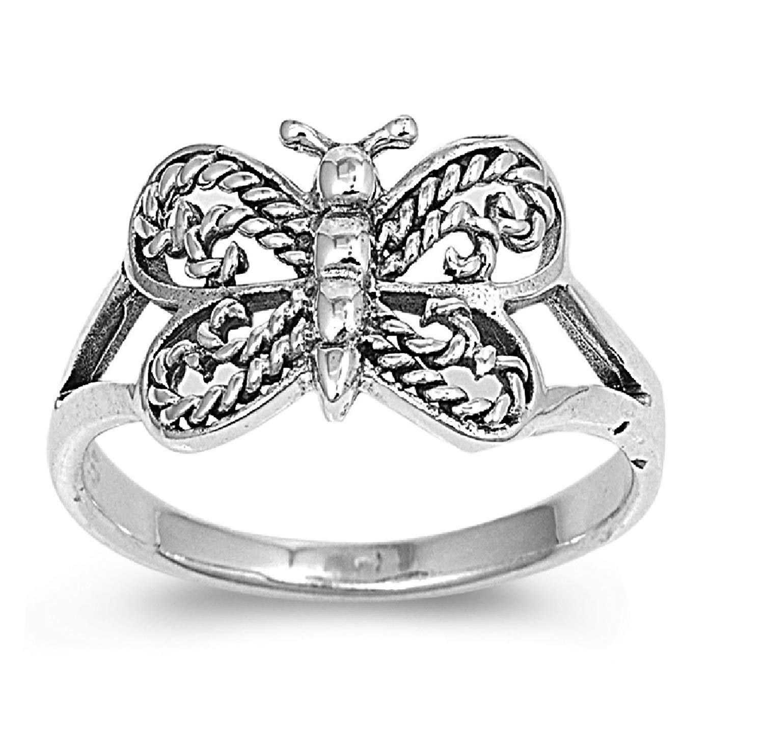 CloseoutWarehouse Butterfly Dharma Petite Rings Sterling Silver 925