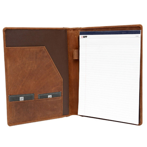 Brown Crazy Horse Leather Simple Conference Compendium Leather Portfolio File Folder
