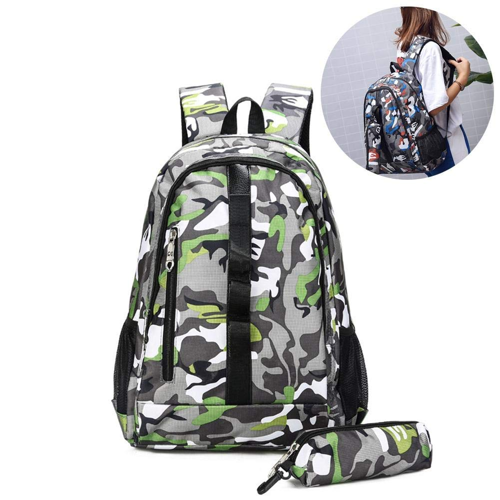 Get Quotations · Camouflage Backpack Student Summer Camp Bag Large Capacity  Backpack Two-Piece Camping 1a50cb03a3