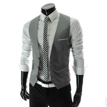 Hot Sale Men's Vests Classic Male Clothing Autumn Man Casual Slim V-neck Vest Suit Vest 4 Colors