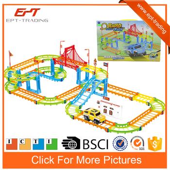73pcs electric slot racing car magic track toys set for kids