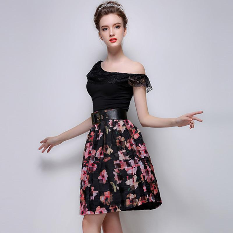 Женщины одежда лето свободного покроя печать органза длиной до колен юбка высококлассные женщины юбка буф юбка с ремень