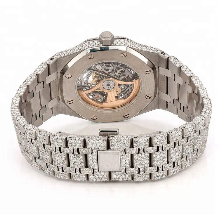 Custom Luxury Gold Stainless Steel Natural Moissanite Diamond Brand Watch Men Women OEM