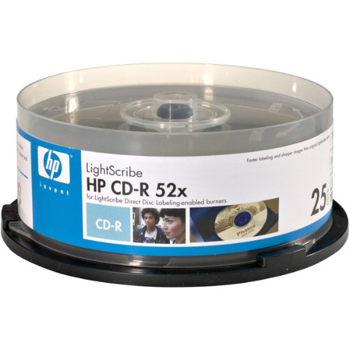 HP 52x Write-Once CD-R Spindle with Lightscribe Technology - 25 Disc Spindle
