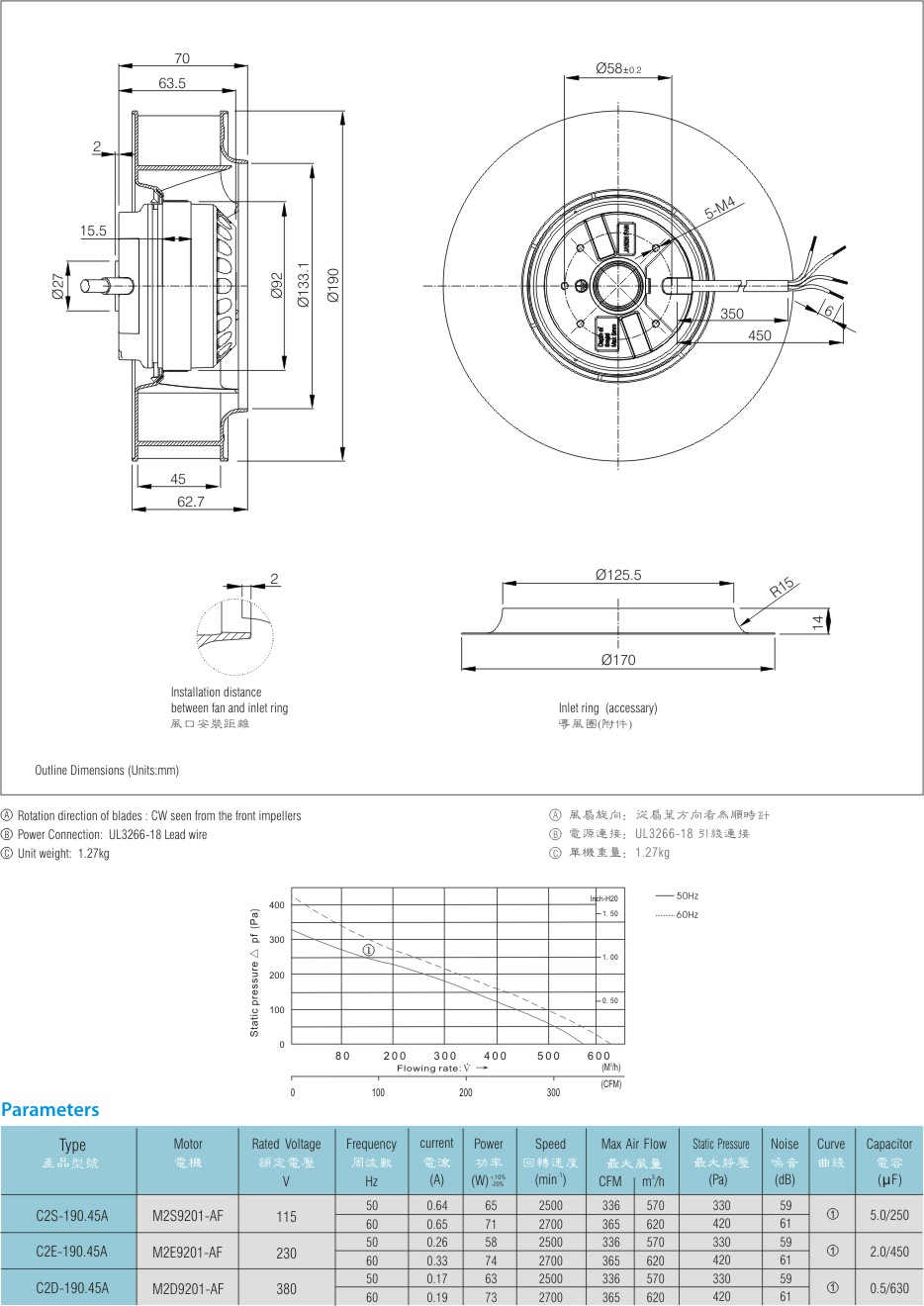 220V 190mm 300CFM backward curved centrifugal fan