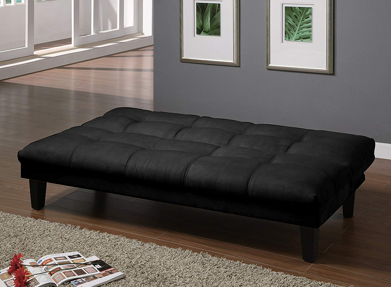 Major-Q Black Velvet Convertible/Adjustable Futon Couch Sofa Bed (SH8513601)