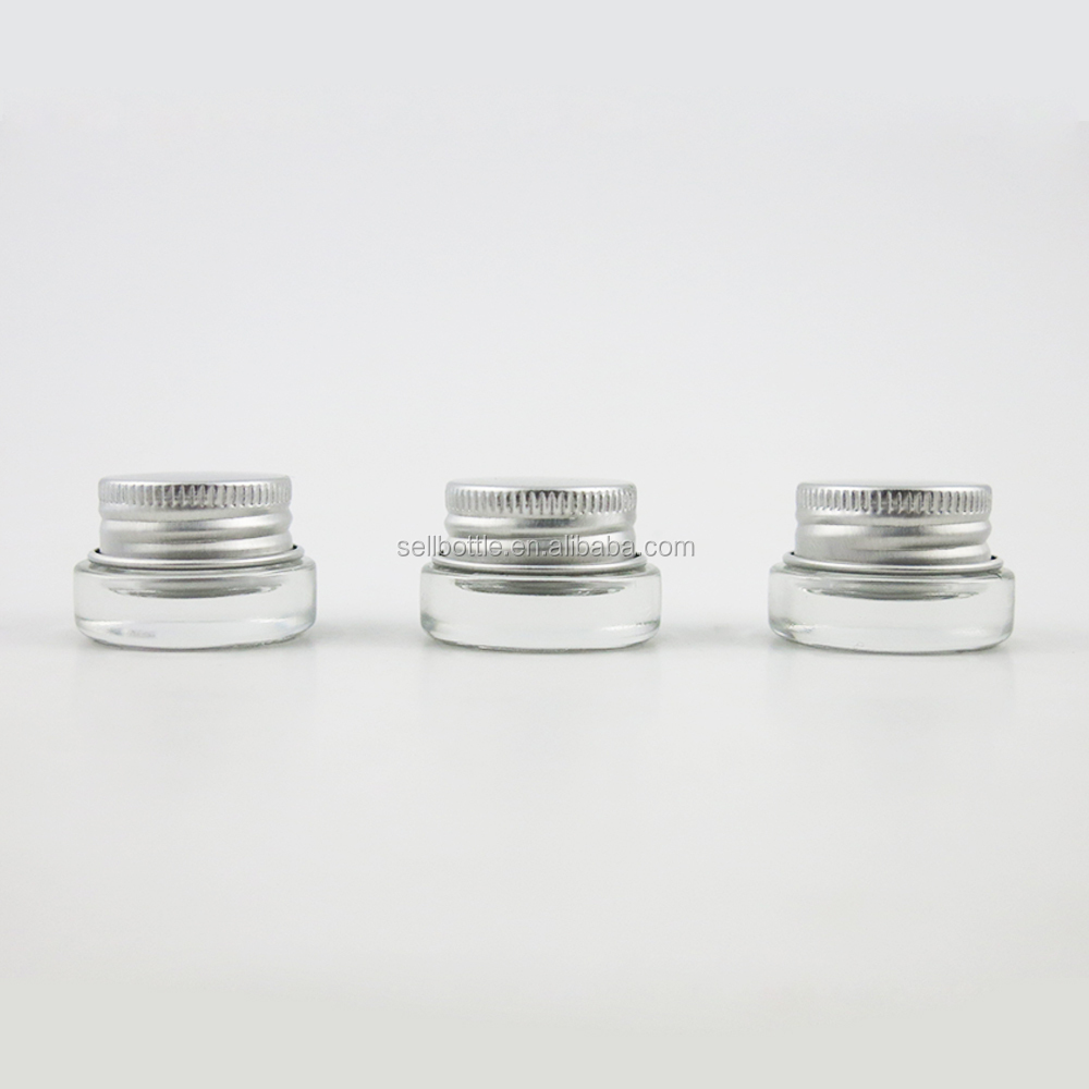 Wholesale Small Clear Glass Jar With Aluminum Cap 3g Transparent Round Glass Jar For Face Cream Skin Care