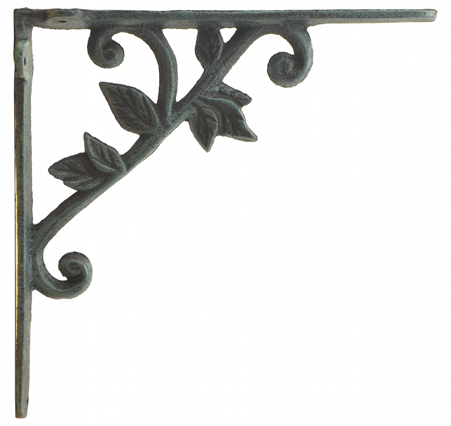 "Import Wholesales Wall Shelf Bracket Vine & Leaf Pattern Decorative Verdigris Cast Iron Brace 8.375"" Deep"