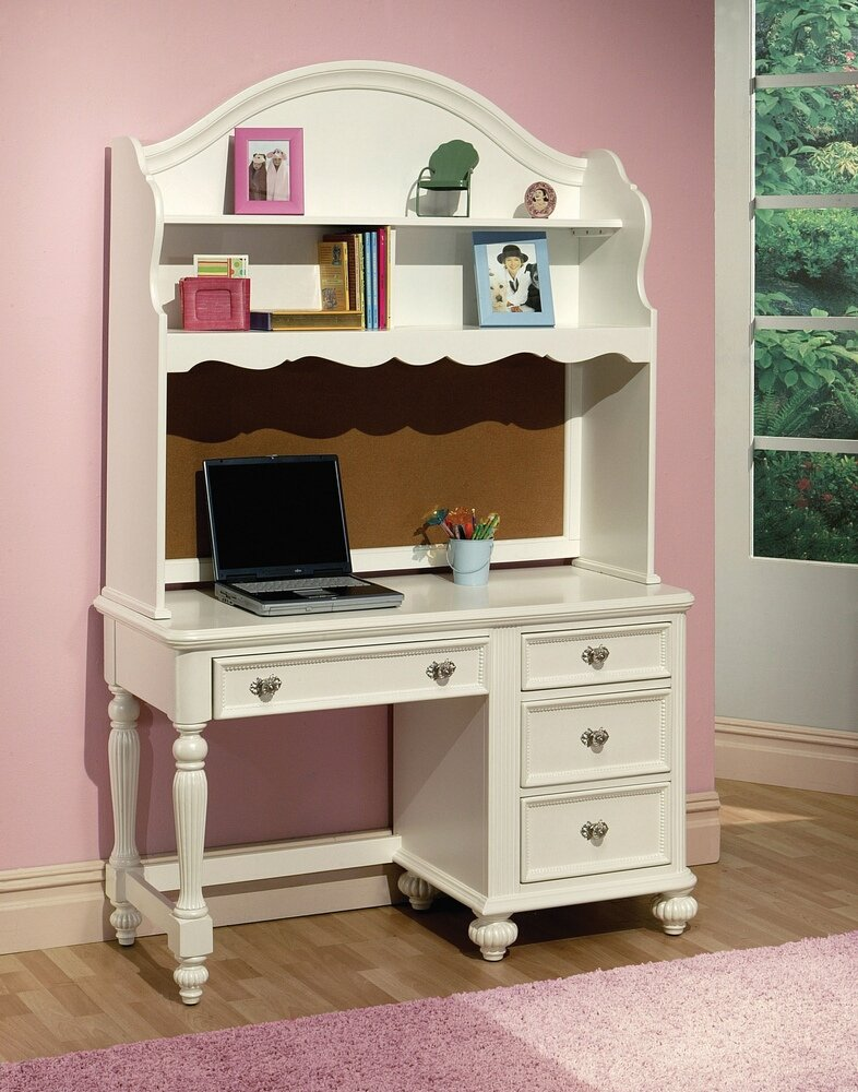 Athena Collection White Finish Wood Children S Desk And Hutch