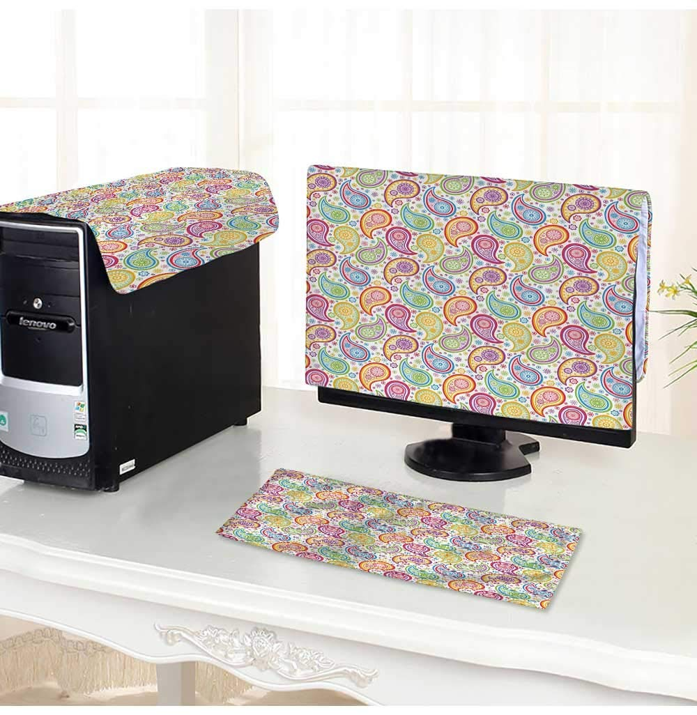 """Leighhome Keyboard dust Cover Computer 3 Pieces Colored Patterned Backgrounded with Paisley Flowers and Circles Artwork Computer dust Cover /20"""""""