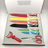 (SK319)Professional good quality 8pcs royalty line colored knife set