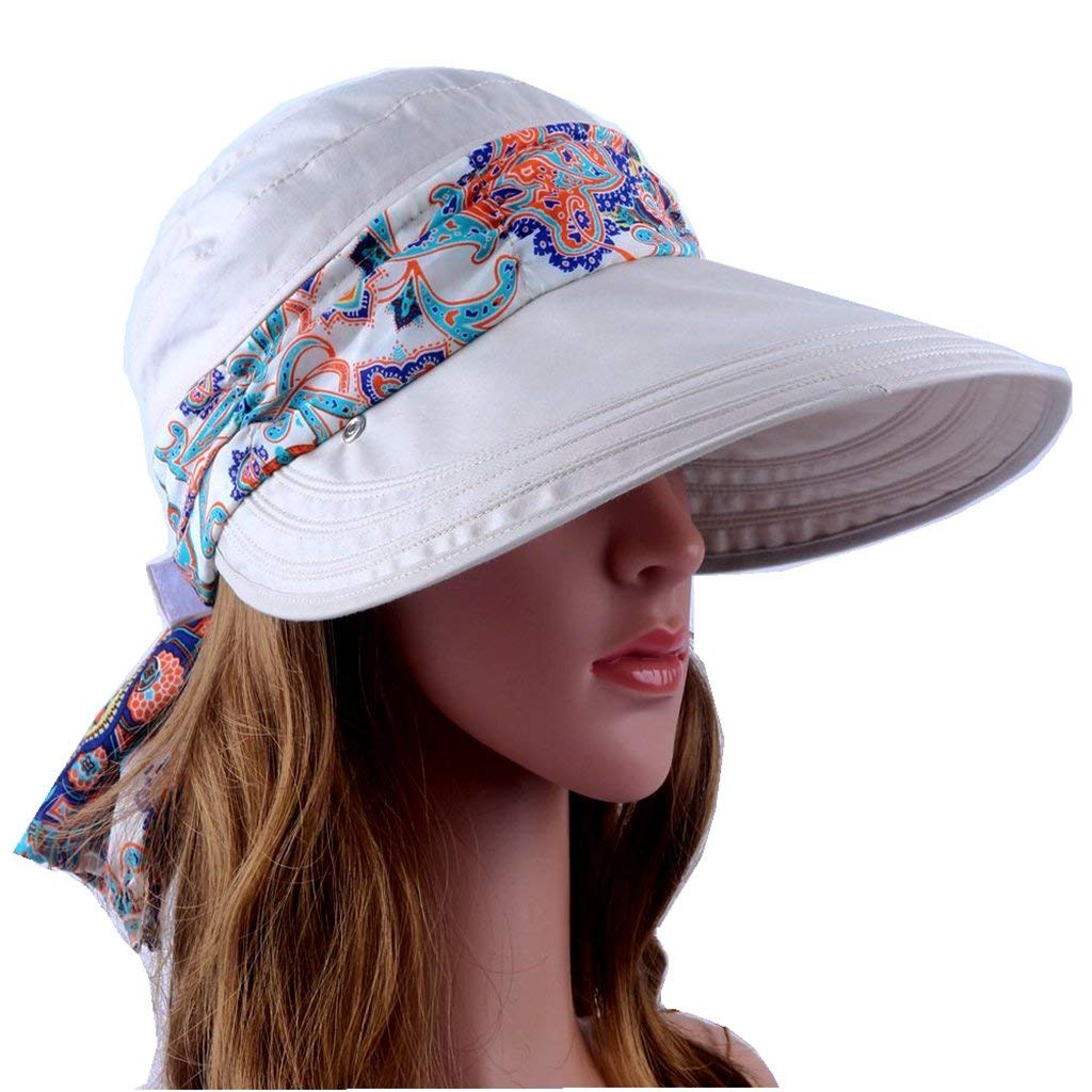 6ed59bc181d Get Quotations · Wide Brim Visor Foldable UV Protection Sun Hat Outdoor  Flap Hat for Women