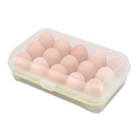 Fresh keeping Plastic stackable 15 grid kitchen eggs storage box , egg container, refrigeratoe crisper egg grid