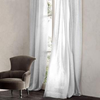 Pinstripe Sheer Drapery Fabric By The Yard Belgian Linen Lightweight