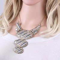Fashion Jewelry Oval Pendant Necklace/ Long Chain Italian Silver Statement Necklace