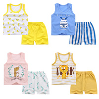 Children's clothing sets girls and boys cartoon printed sets kids summer sleeveless 2pcs set for 1-5 years child