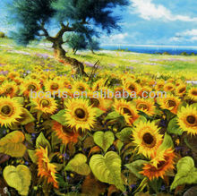 Handmade natural beauty Landscape Sunflower Oil Paintings with frame
