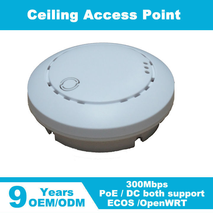 300mbps In Wall Wireless/WiFi Mini Ceiling Mounted AP Wireless Access <strong>Point</strong> with 48V POE