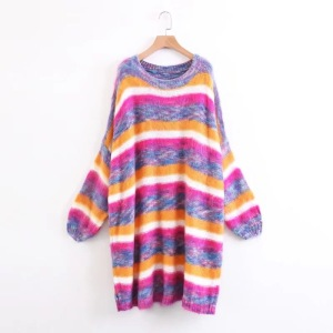 Woman Soft Mohair Rainbow Stripe Long Sleeve Loose Batwing Coat Sweater Dress