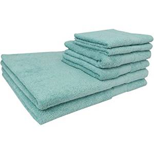 Super Soft and Absorbent Lenzing Modal Cotton Blend 6-Piece Bath Towel Set, Blue
