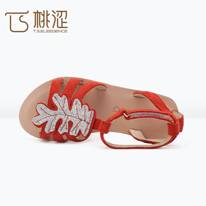 2017 china model <strong>sandal</strong> style girls kids flat cow leather flat <strong>sandal</strong>