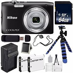 Nikon COOLPIX S2900 Digital Camera (Black) International Model No Warranty + EN-EL19 Replacement Lithium Ion Battery + External Rapid Charger + 64GB SDXC Class 10 Memory Card + 12-Inch Flexible Tripod with Gripping Rubber Legs + SD Card USB Reader + Memory Card Wallet + Lens Cap Keeper + Deluxe
