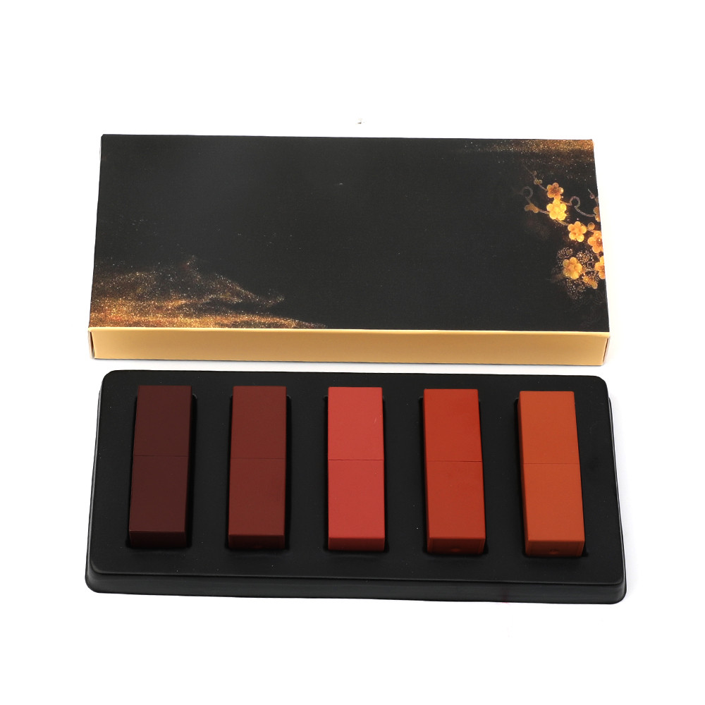 Nach Make-Up Kit Lippenstift Kit Großhandel 5 in 1 Matte Shades Lippenstift Geschenk Box