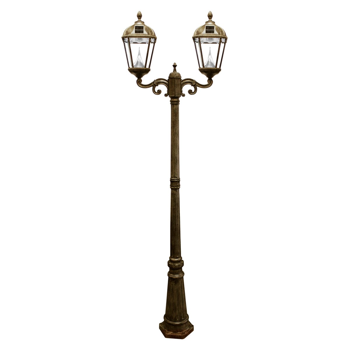 Gama Sonic Royal Solar Lamp Post and Double Lamp LED Light Fixture, 89-Inch Height, Weathered Bronze Finish #GS-98D
