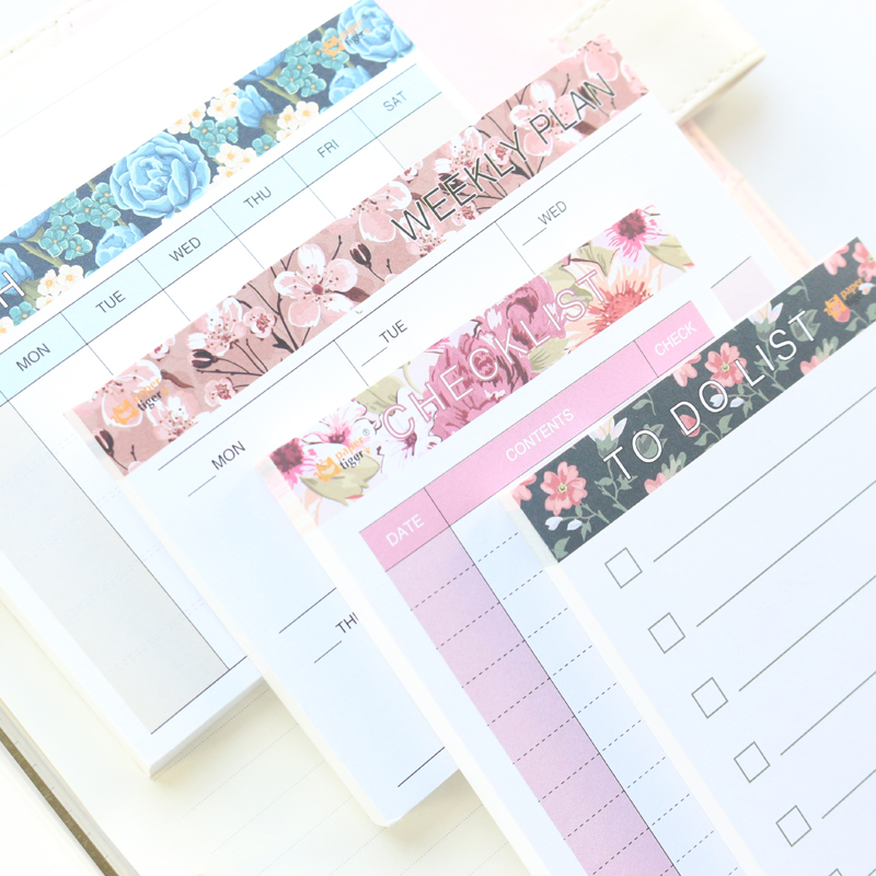 Cute kawaii school flower pattern planning pad/memo pad:monthly planner weekly planner list