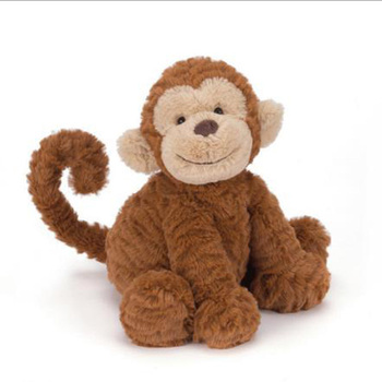 Zoo Stuffed Monkey Sitting Brown Big Ears Monkeys Plush Toy For